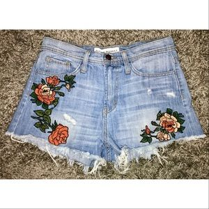 Embroidered Flower Shorts